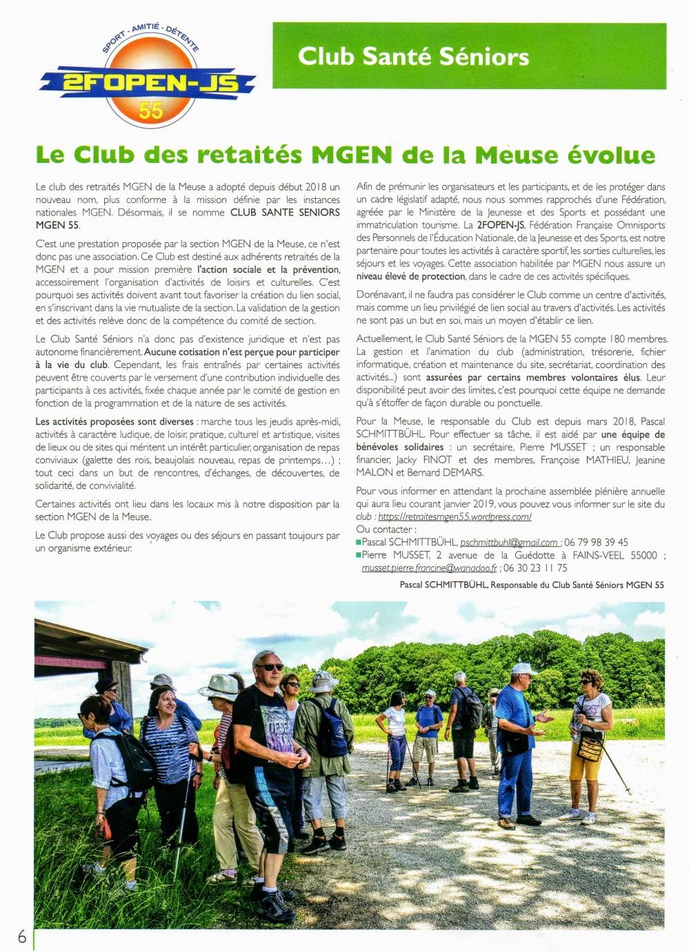 article Club Sante Séniors esptembre 2018